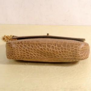 MCM Crocodile Embossed Chain Flap 869875 Brown Leather Shoulder Bag