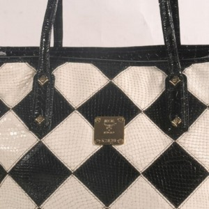 MCM Diamond Bicolor Tote Shopper Rare Limited 872703 Black and White Coated Canvas + Cowhide Shoulder Bag