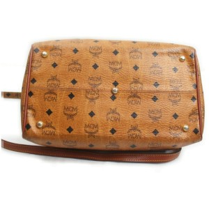 MCM Cognac Monogram Visetos Boston Duffle Bag with Strap 862419