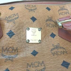 MCM Cognac Monogram Visetos Boston Duffle Bag with Strap 862420