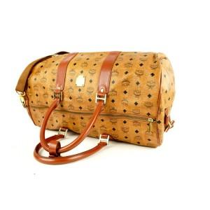 MCM Cognac Monogram Visetos Boston Duffle Bag with Strap 1mcmlm311
