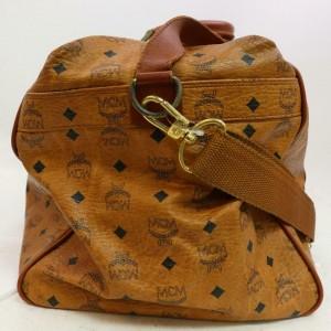 MCM Duffle Cognac Monogram Visetos Boston with Strap 870768 Brown Coated Canvas Weekend/Travel Bag