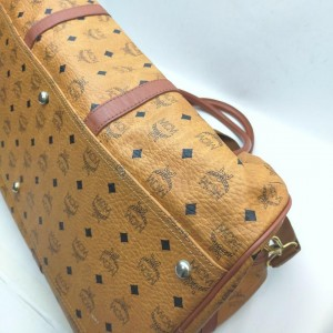 MCM Cognac Monogram Visetos Duffle Bag with Strap 862477