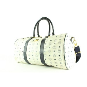 MCM White Monogram Visetos Boston Duffle Bag with Strap 4MCM124