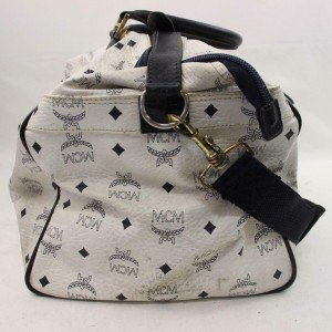MCM Duffle Monogram Visetos Boston with Strap 870916 White Coated Canvas Weekend/Travel Bag