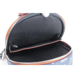 MCM Estate Small Logo Orange 13mk0115 Blue Leather Backpack