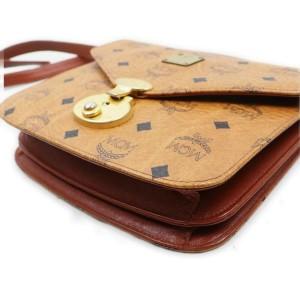 MCM Cognac Monogram Visetos Flap Bag 863162