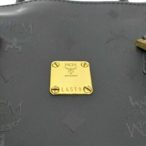 MCM Black Monogram Visetos Boston with Strap 861692