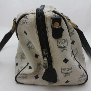 MCM White Monogram Visetos Boston Bag 863130