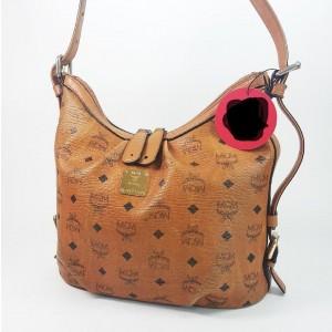 MCM Hobo Cognac Monogram Visetos Zip 867448 Brown Coated Canvas Shoulder Bag