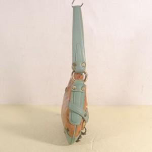 MCM Hobo Horsebit Mini Turquoise 872468 Cognac Coated Canvas Shoulder Bag