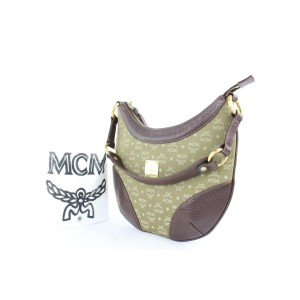 MCM Hobo Khaki Monogram Visetos 12gz0114 Green Canvas Shoulder Bag