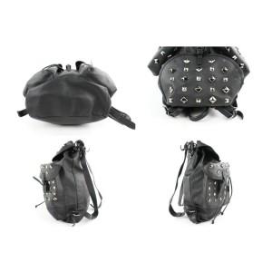 MCM Limited Rare Studded Monogram Visetos 18mcz0114 Black Coated Canvas Backpack