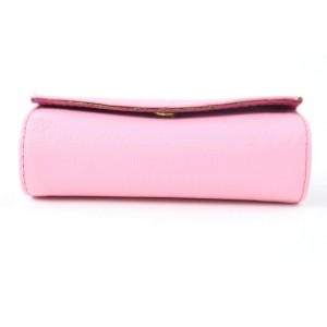 MCM Cosmetic Case Lipstick 28mcz0720 Pink Coated Canvas Clutch
