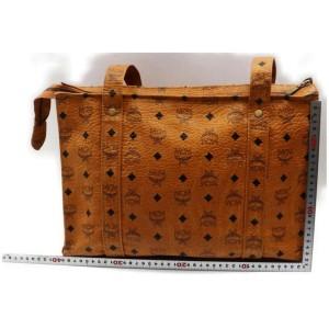 MCM Logo Shopper Monogram Visetos Cognac Shopper 872590 Light Brown Coated Canvas Shoulder Bag