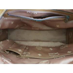 MCM Manhattan Monogram Visetos Satchel Buckle Pocket 872712 Cognac Coated Canvas Shoulder Bag