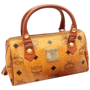 MCM Mini Boston with Strap Cognac Monogram Visetos 234846 Brown Coated Canvas Satchel