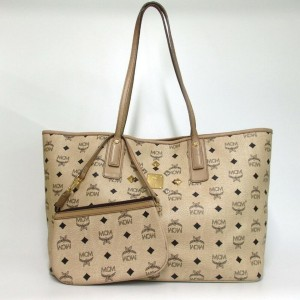 MCM Monogam Visetos Liz 860024 Beige Coated Canvas Tote
