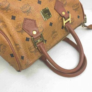 MCM Monogram Visetos Boston Cognac 860075 Light Brown Coated Canvas Satchel
