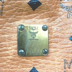 MCM Monogram Visetos Boston Cognac Doctors 860062 Light Brown Coated Canvas Satchel