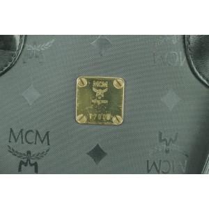 MCM Black Monogram Visetos Bowler with Strap 8MK0107