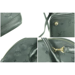 MCM Monogram Visetos Bowler with Strap 8mk0107 Black Vinyl Shoulder Bag