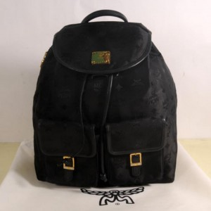 Mcm Monogram Visetos Jacquard Twin Pocket 869448 Black Nylon Backpack