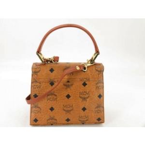 MCM Monogram Visetos Kelly 2way 870640 Brown Coated Canvas Shoulder Bag
