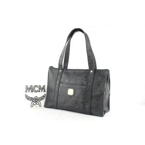MCM Monogram Visetos Shopper 1mce1223 Black Vin Tote