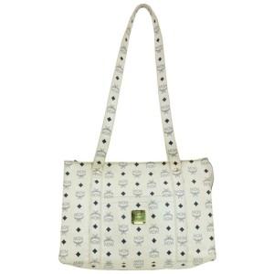 MCM White Monogram Visetos Shopper Tote  859767