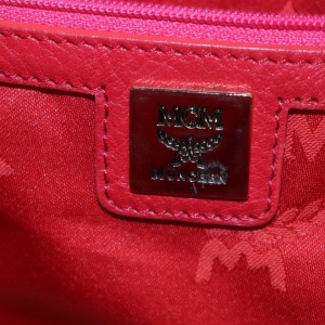 MCM Monogram Visetos Stud Stark 872770 Hot Pink Almost Red Coated Canvas Backpack