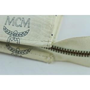 MCM Monogram Visetos Zip Flat Pouch Poche 14mcz0911 White Coated Canvas Clutch