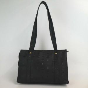 MCM Monogram Visetos Zip Tote 872752 Black Coated Canvas Shoulder Bag