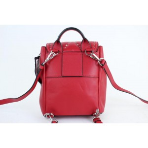 MCM Quilted Mini Diamond Disco Crystal 17mct916 Red Leather Backpack