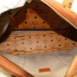MCM Rare Large Cognac Monogram Visetos Dome Tote 870245 Brown Coated Canvas Shoulder Bag