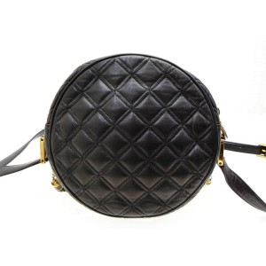 MCM Round Quilted Tassel 227829 Black Leather Cross Body Bag
