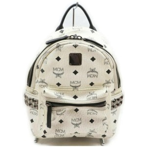 MCM White Small Monogram Studded Stark Backpack 861602