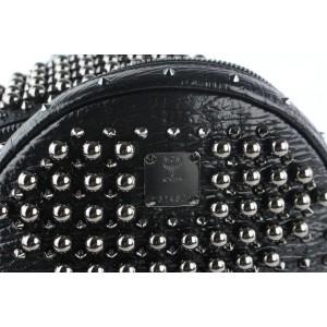 MCM Stark Pearl Stud 2mcz1016 Black Leather Backpack