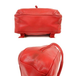 MCM Studded 232818 Red Leather Backpack