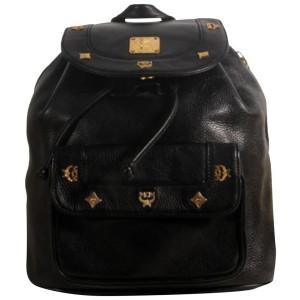 Mcm Studded 868496 Black Leather Backpack