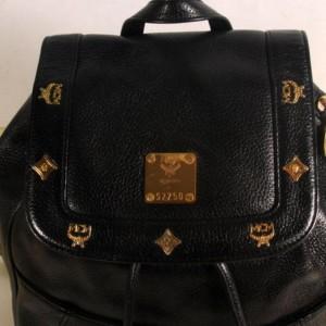 Mcm Studded 869326 Black Leather Backpack