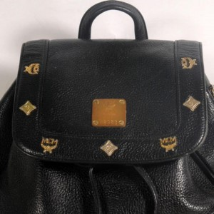 MCM Studded 869502 Black Leather Backpack