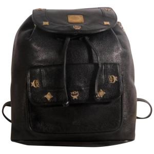 MCM Studded 869699 Black Leather Backpack