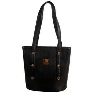 Mcm Bucket Studded 868497 Black Coated Canvas Tote