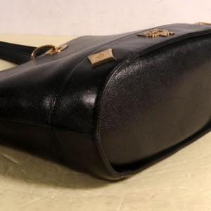 MCM Studded Charm Tote 869443 Black Leather Shoulder Bag