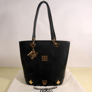 Mcm Studded Charm Tote 869443 Black Leather Shoulder Bag