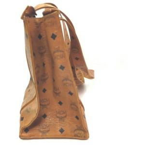 MCM Cognac Monogram Visetos Shopper Tote Bag 863070