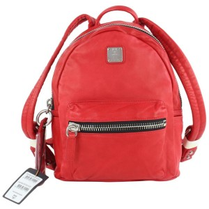 MCM Tumbler 3mcz1025 Red Leather Backpack