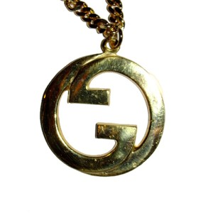 Large 18 kt Gold Plated Gucci Pendant Necklace