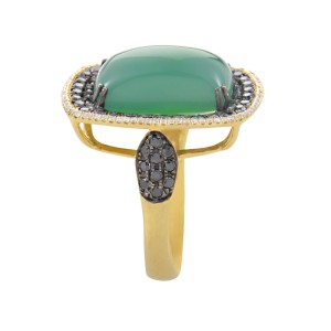 French Collection 18K Yellow Gold Green Agate & Multi-Diamond Ring